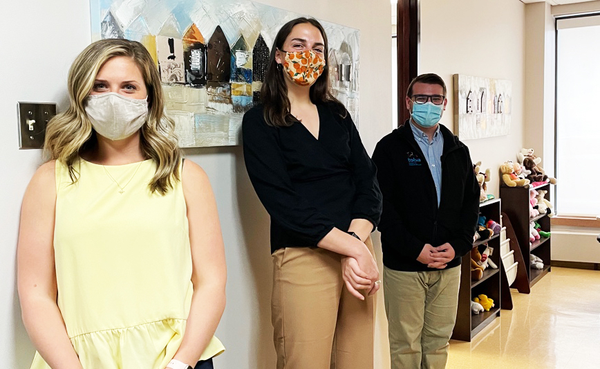 From left to right: Katie Desilets, Emily Richard and Steven Nero. Missing: Stephanie Levesque.